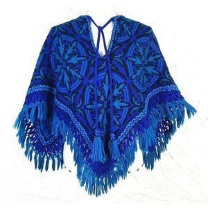 Vintage Wool Knit 70's Boho Poncho with Fringe